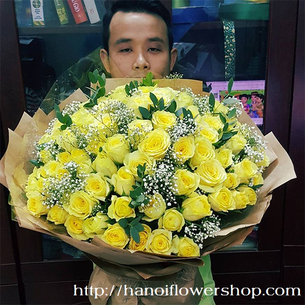 Bouquet of 99 yellow roses